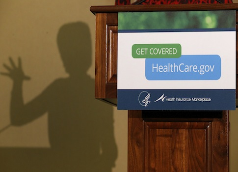 The shadow of Kathleen Sebelius / AP