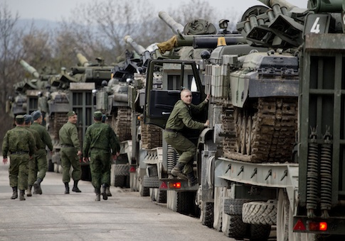 Ukrainian soldiers transport their tanks from their base in Perevalnoe, outside Simferopol, Crimea