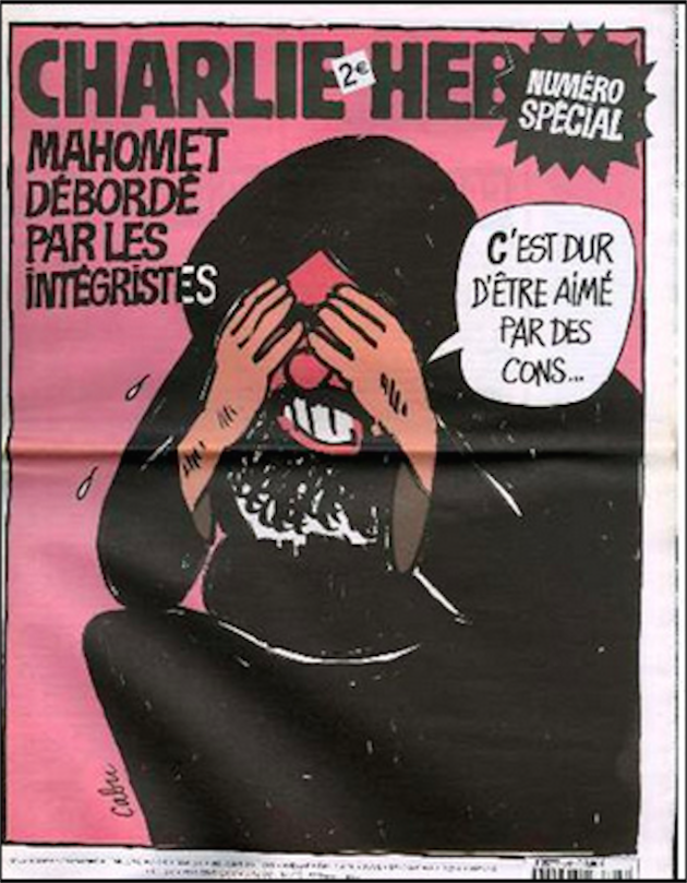 "The cover of a 2006 issue containing cartoons that mocked Mohammed. The caption reads ""Mohammed overwhelms the fundamentalists."""