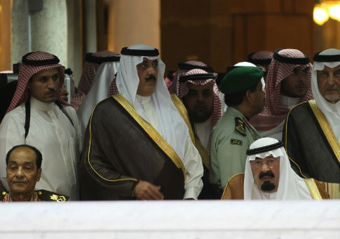 Members of the House of Saud appear with Field Marshal Hussein Tantawi of Egypt at a funeral in 2012. / AP