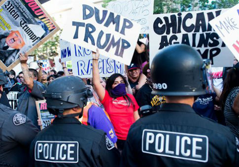 Protesters outside a rally for Donald Trump in San Jose, Calif. / AP