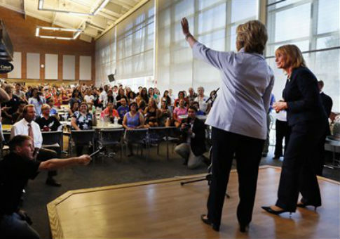 Hillary Clinton and New Hampshire Gov. Maggie Hassan at the University of New Hampshire / AP