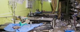 A picture taken on April 4 shows destruction at a hospital room in Khan Sheikhun, a rebel-held town in the northwestern Syrian Idlib province, following a suspected toxic gas attack