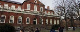 Harvard students walk through the campus